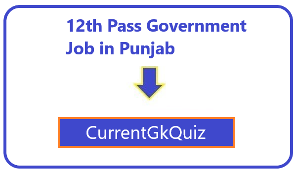 12th Pass Government Job in Punjab
